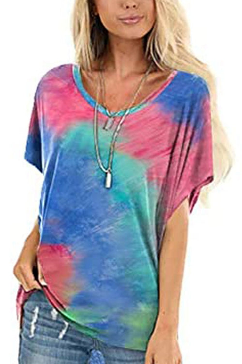 Tie-Dyed Casual  Round Neck T-Shirt