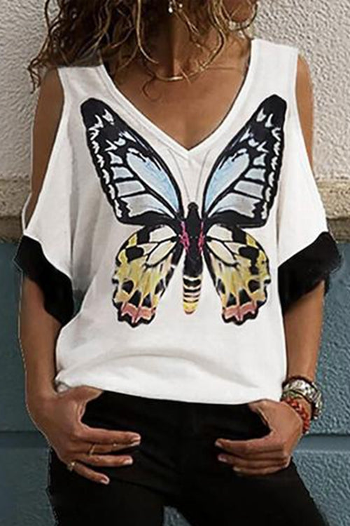 Off-Shoulder Butterfly Three Quarter Length Sleeve Casual T-shirt
