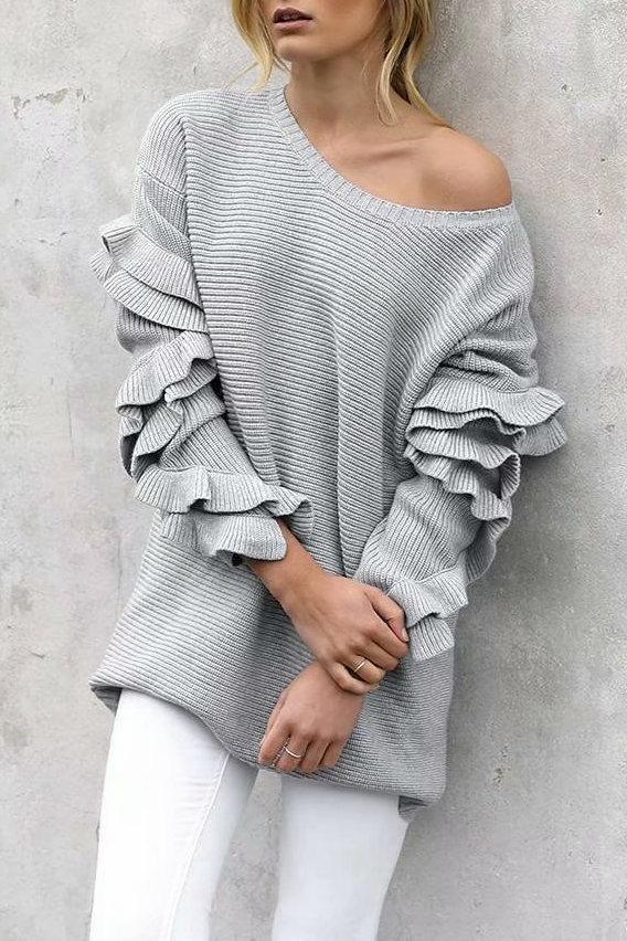 Flounce Design White Sweater