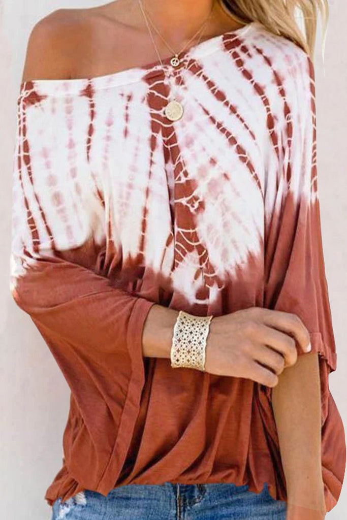 Printed off-the-shoulder long sleeve T-shirt