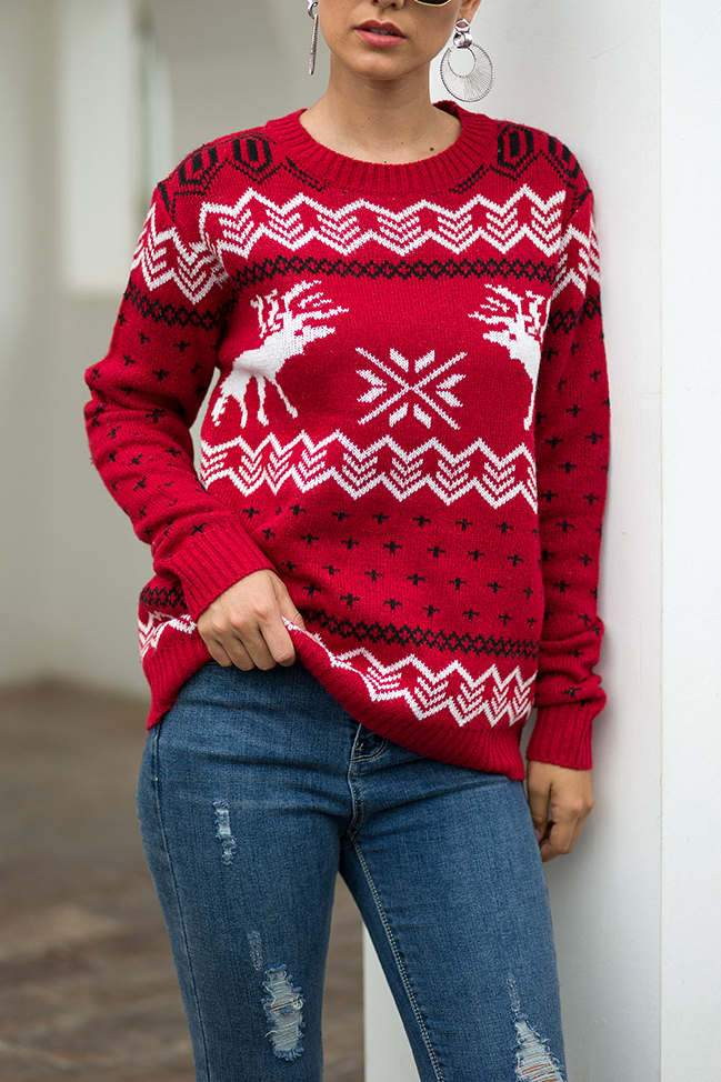Christmas Printed Black Sweater(5 colors)