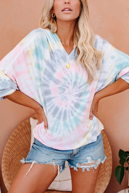 V-Neck Tie-Dye Casual Long Sleeve T-Shirt