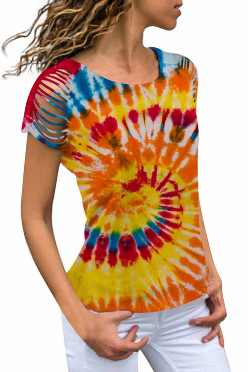 Tie-Dyed Round Neck Short Sleeves T-shirt
