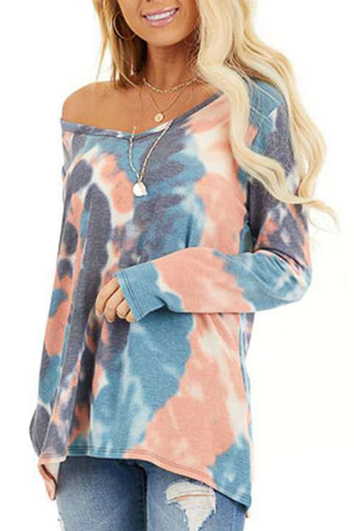 Tie-dyed round neck  long sleeves T-shirt