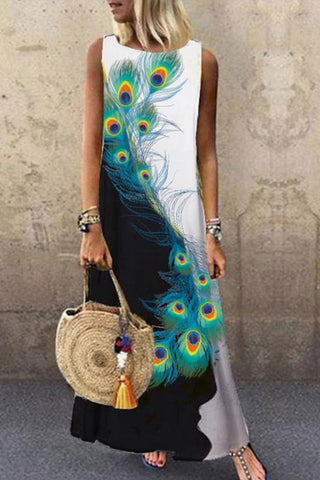 Feather Print Sleeveless Dress