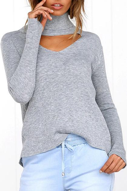 Cutout Light Grey Sweater