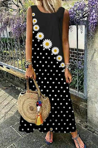 Small Daisy Print Casual Sleeveless Dress