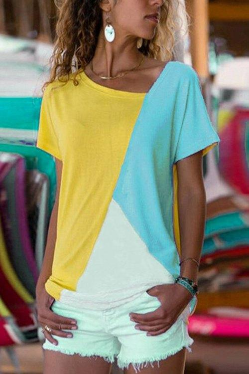 Collision-Soloured Short-Sleeved T-Shirt