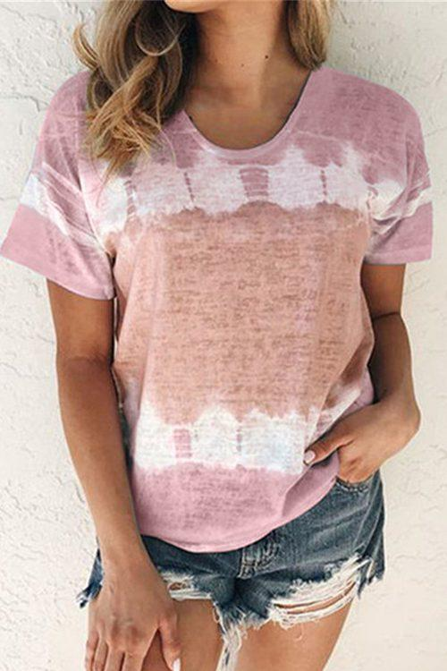 Printed Loose Round Neck  Short Sleeves T-Shirt