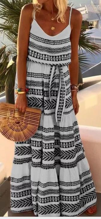 Geometric Printed Loose Ankle Length Dress