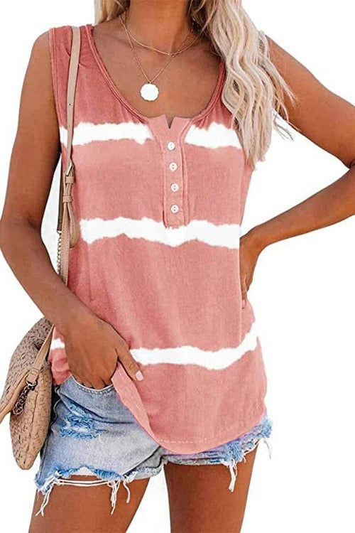 Button Design Round Neck Tank Top
