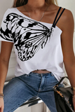 Butterfly Printed Irregular Open-Shoulder Strap T-Shirt