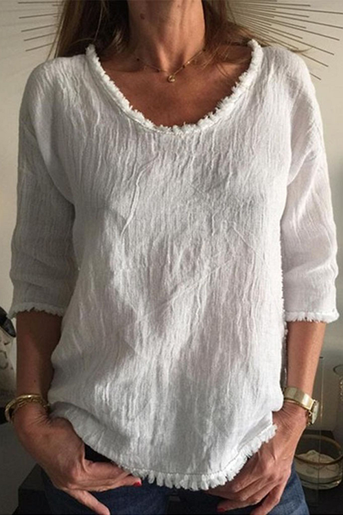 Simple Round Neck White T-Shirt