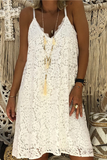Lace V Neck Solid Dress