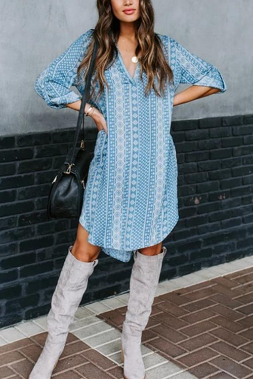 Irregular Floral Printed Shirt Dress