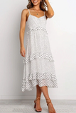 Ruffle Design Dot Print White Midi Dress