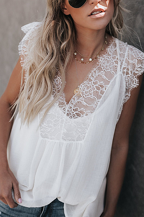 Lace-Up Printed Chiffon Suspenders Top+Vest Two Piece Suit