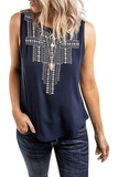 Embroidery Printed Round Neck Tank Top