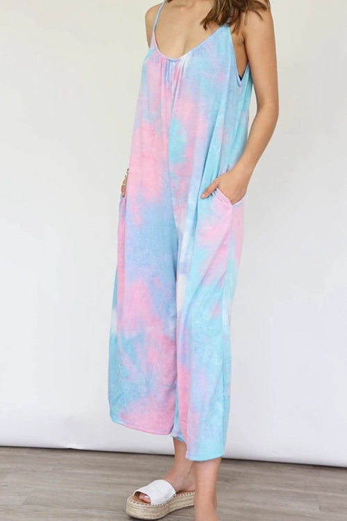 Suspenders tie-dye wide-leg pants
