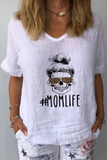 Letter MOMLIFE  Printed Casual T-Shirt