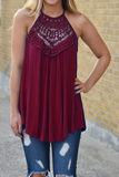 Lace Patchwork Round Neck Casual Tank Top