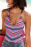 Stripe V-neck one piece swimsuit