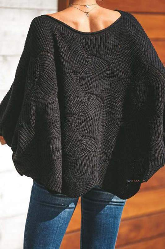 Hollow-out Wave Design Sweater