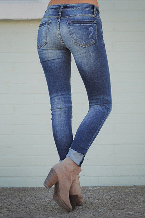 High Waist Worn Out Design Blue Jeans