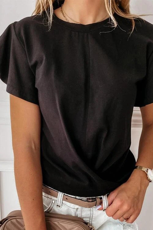 Solid Plain Top Flounces  T-Shirt