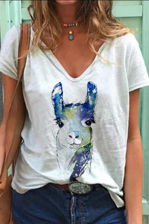 Rabbit Print Casual T-Shirt