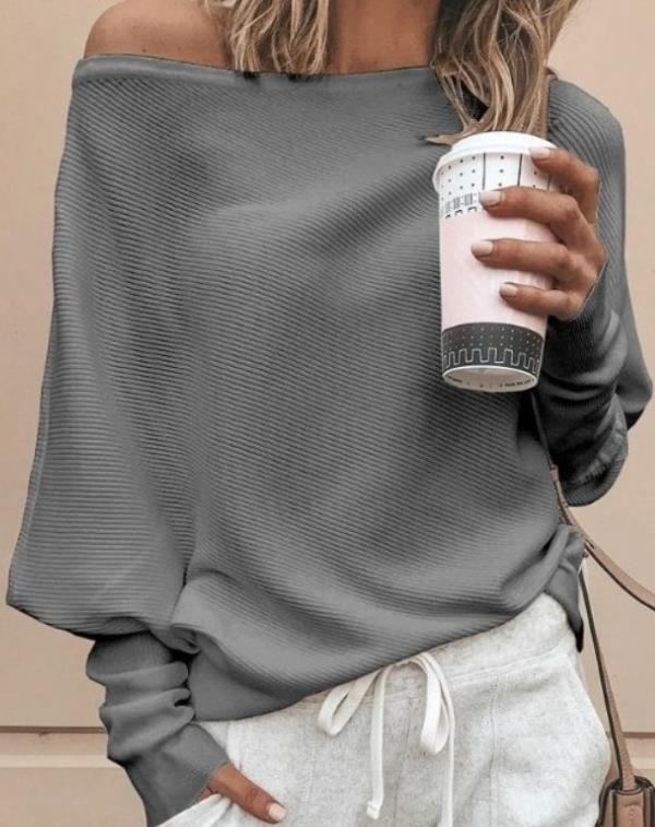 Dew Shoulder Solid Color White Sweater