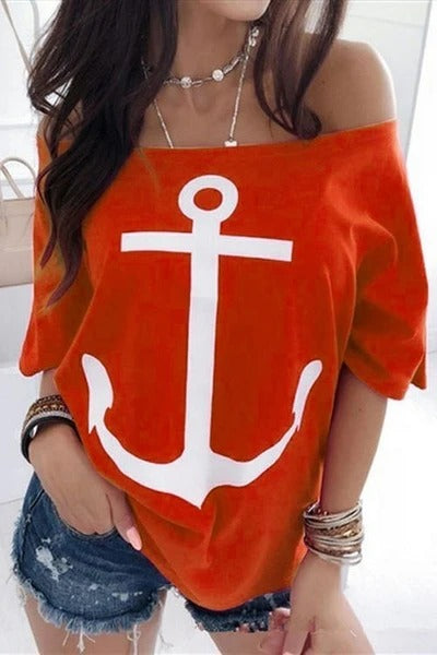 A Word Shoulder Natwing Printed T-Shirts
