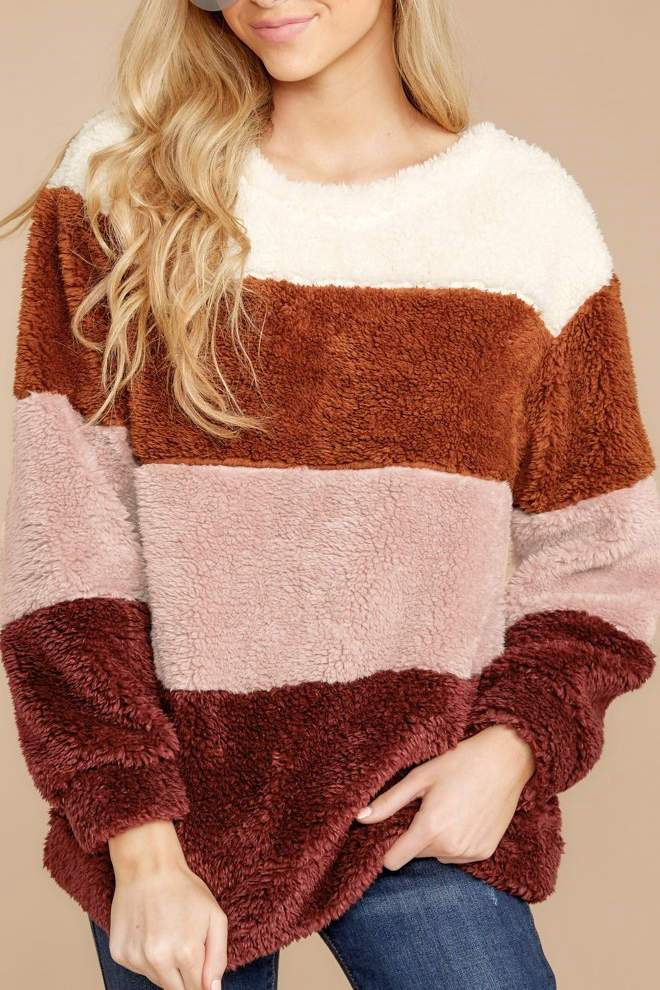 Color-lump Patchwork Multicolor Sweater