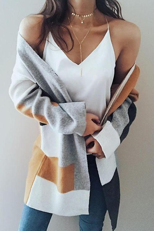Casual Patchwork Long Light Tan Cardigan