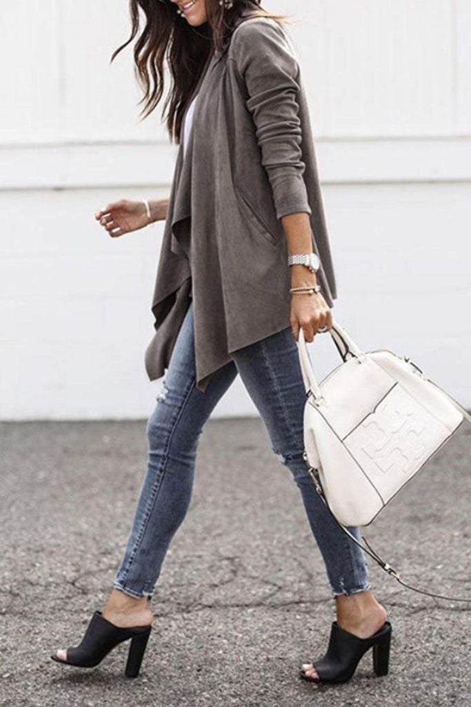 Turndown Collar Casual Coffee Coat