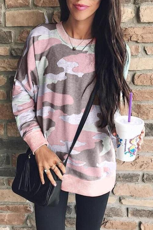 Casual Long Sleeves Camo Printed Sweatshirt (5 Colors)