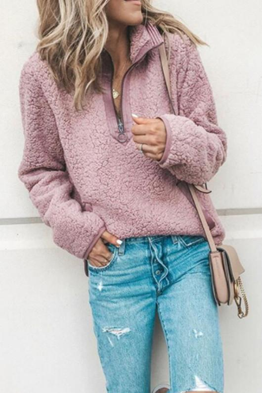Turndown Collar Patchwork Pink Sweater