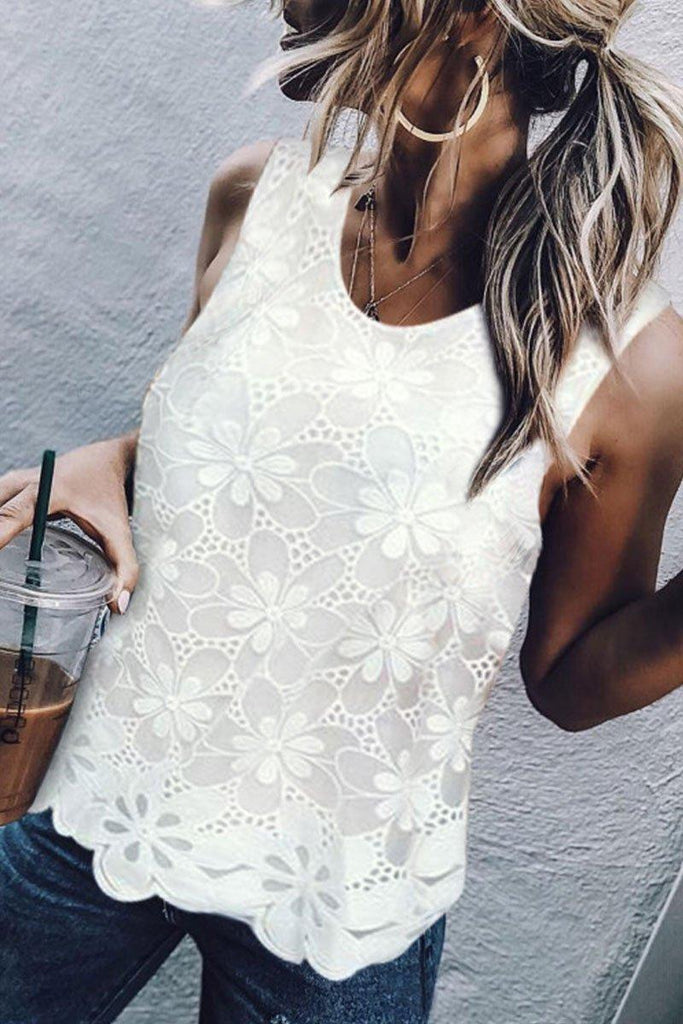 Lace White Tank Top