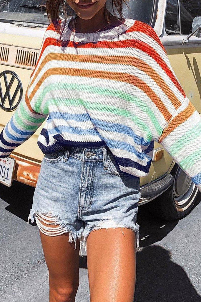 O Neck Striped Blue Sweater