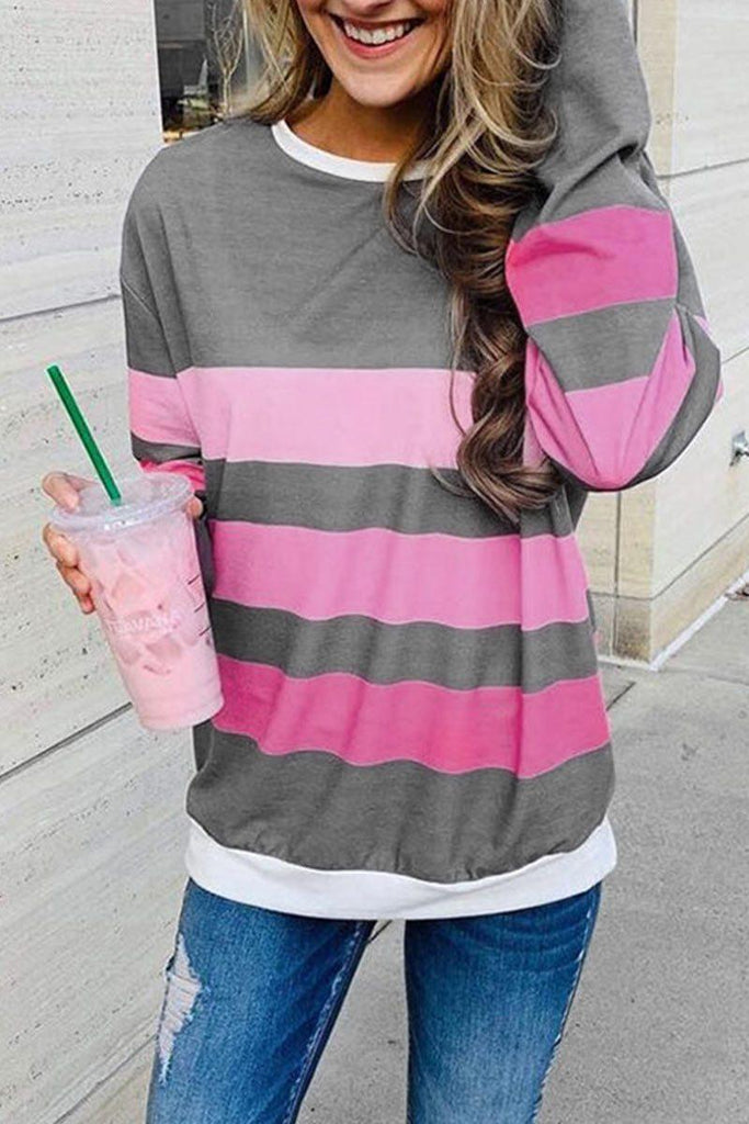 Casual Patchwork Striped Grey Long Sleeve Sweatshirt