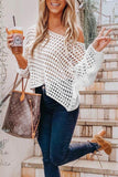 Hollow Out White Casual Sweater
