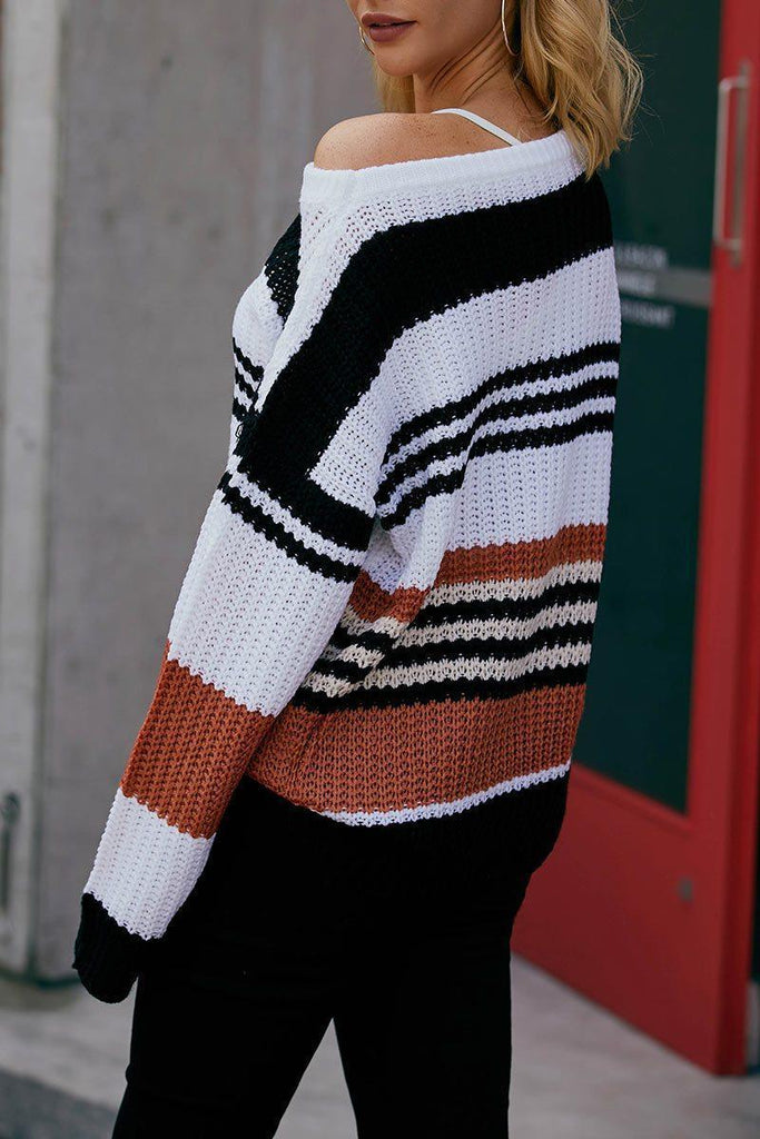 Casual O Neck Striped Orange Sweater