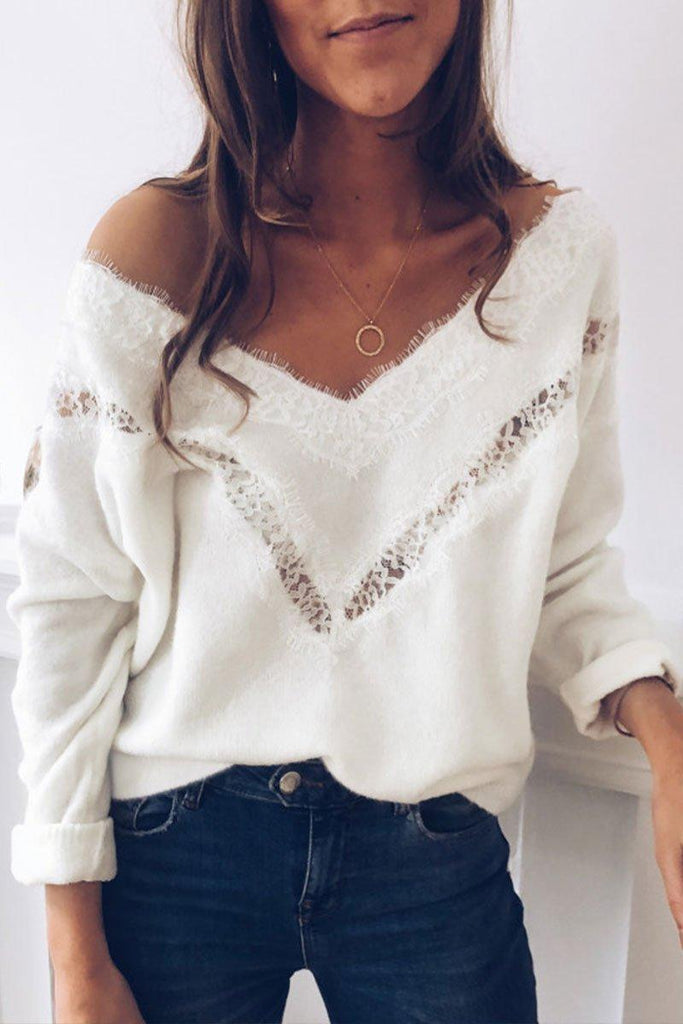 V Neck Hollow-out White Sweater