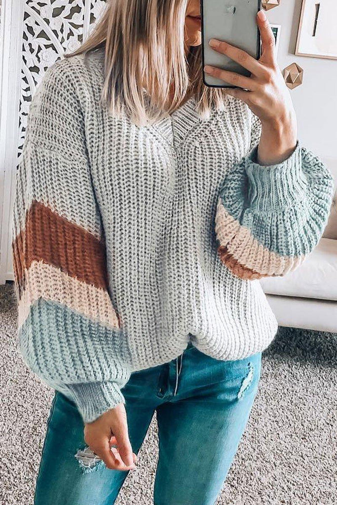 Color-Block Casual Grey Sweater(5 colors)