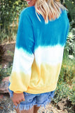 O Neck Tie Dye Patchwork Long Sleeve T-Shirt (4 Colors)