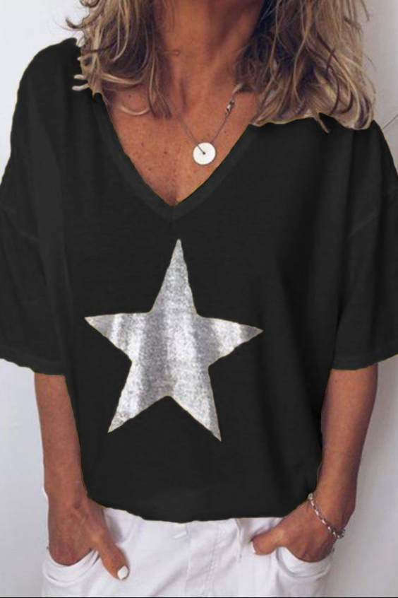 Printed Five-Pointed Star V Neck Short Sleeve T-Shirt