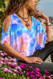 Tie-dyed bat sleeve T-shirt