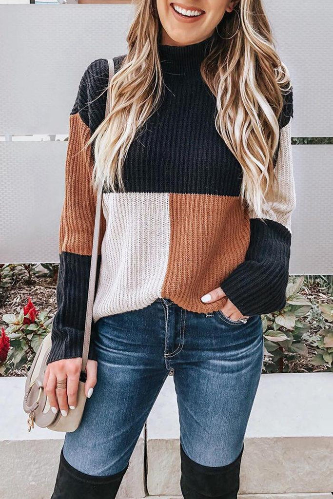 Casual Long Sleeves Patchwork Sweaters(4 Colors)