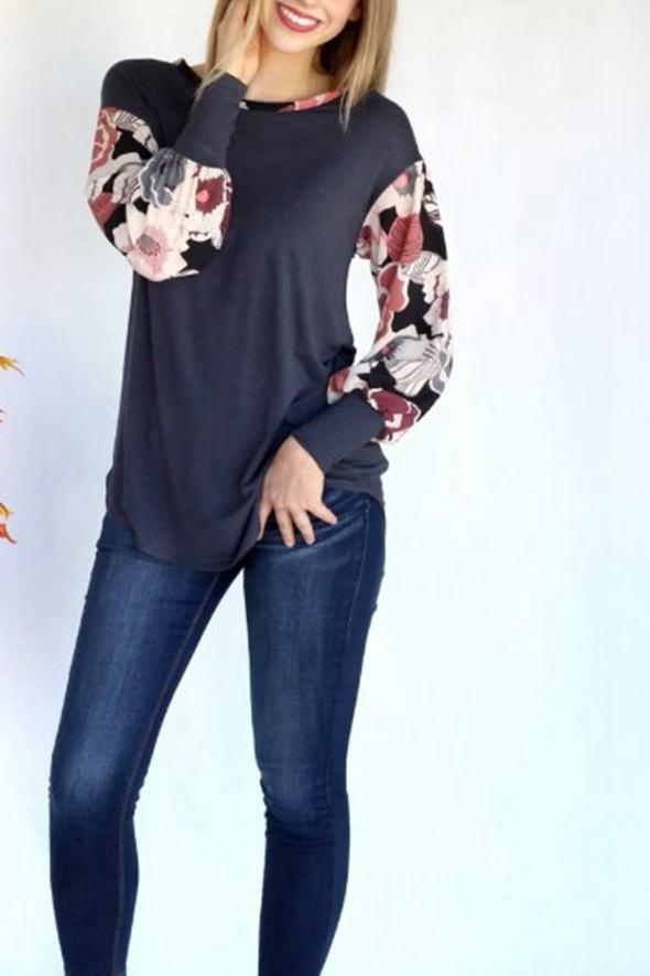 Casual Round Neck Long Sleeve Shirt