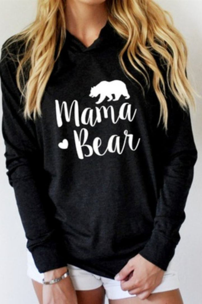 Letter Printed Long Seeve Hooded T-Shirt